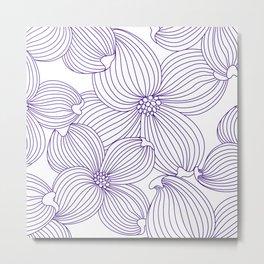 Dogwood Big Linear Floral: Lavander (purple) Ivory Metal Print
