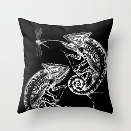 Catch - Chameleon and Dragonfly Illustration Hand Drawing from Inktober 2019 Throw Pillow