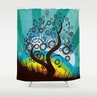 surrealism Shower Curtains featuring Funky Retro Surrealism Tree Graphic  by NextExit