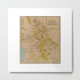 Historic Plan of the Imperial Forum Rome Map Metal Print