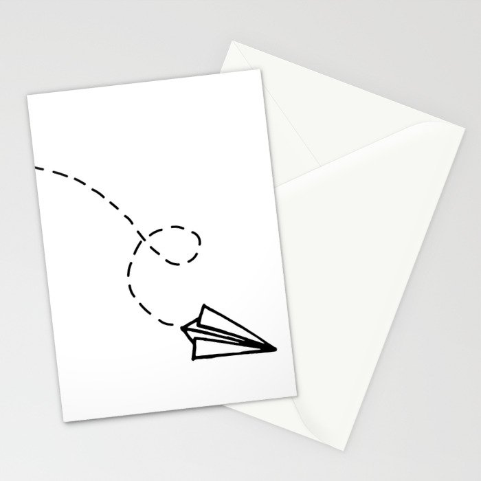 Send It Simple Paper Airplane Drawing Stationery Cards By