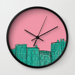 pink and green cityscape Wall Clock