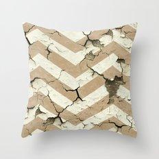 Peeling Chevrons Taupe Throw Pillow