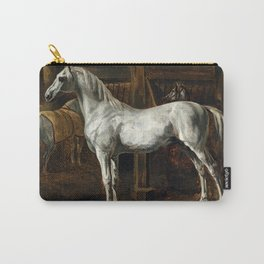 "Théodore Géricault ""White horse standing in a stable (Tamerlan, stallion of the Versailles stables)"" Carry-All Pouch"