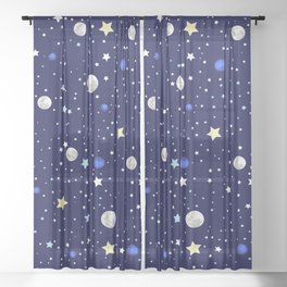 Universe pattern; Moon, Stars and Neptune Sheer Curtain