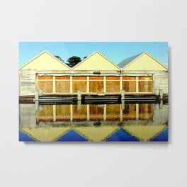 Reflections of an old boat Building Metal Print
