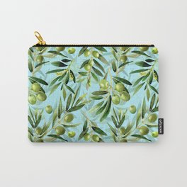 mediterranean summer olive branches on turquoise Carry-All Pouch