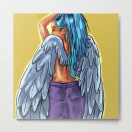 Blue angel with and inked tattoo design print Metal Print