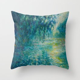 Claude Monet Morning on the Seine Oil Paintng Throw Pillow