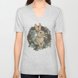 winter rabbit Unisex V-Neck