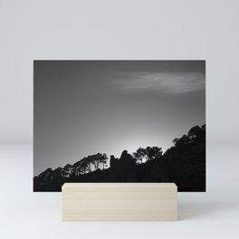 Sun through the mountains and trees. Al sunset Mini Art Print