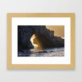 Sunrays Through The Arch. Del Medio Beach. At Sunrise Framed Art Print