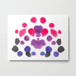 Rorschach Inkblot Diagram Psychology Abstract Symmetry Colorful Watercolor Art Pink Purple Blue Red Metal Print