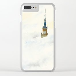 Palace of Culture in clouds Warsaw Clear iPhone Case