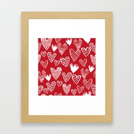 Herats red and white pattern minimal valentines day cute girly gifts hand drawn love patterns Framed Art Print