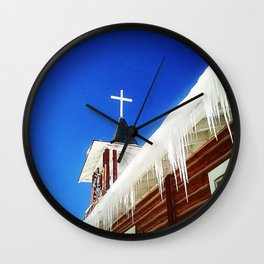 Chapel with Icicles Wall Clock