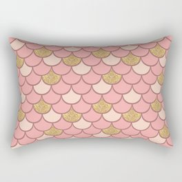 Rose gold mermaid scale with  glitter effect Rectangular Pillow