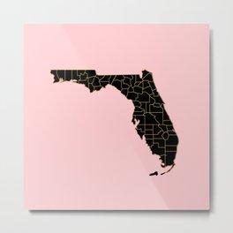 Pink and old Florida map Metal Print