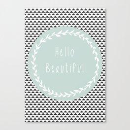 Hello Beautiful, Geometric, Quote, Modern, Home Decor Canvas Print