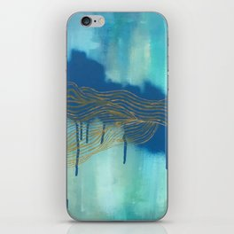 Golden Blue Lines iPhone Skin