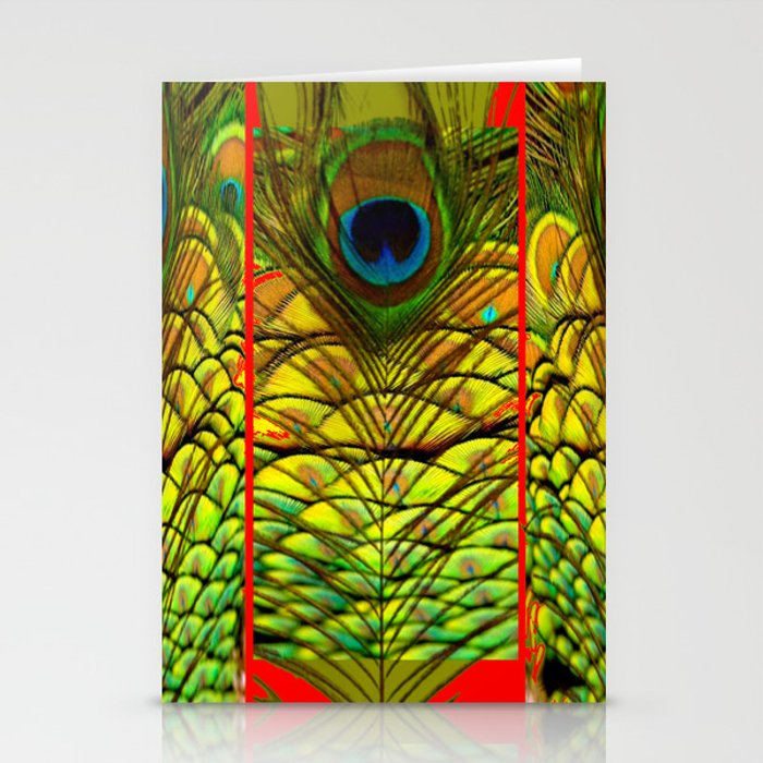 ART DECO RED GOLDEN-GREEN PEACOCK  PATTERN Stationery Cards