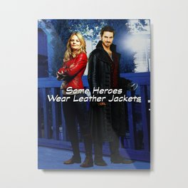 """Some Heroes Wear Leather Jackets"" Metal Print"