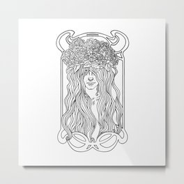 She. Art Nouveau. Metal Print