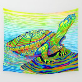 Colorful Psychedelic Neon Painted Turtle Rainbow Turtle Wall Tapestry