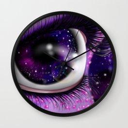 Purple Alien Galaxy Eye Wall Clock