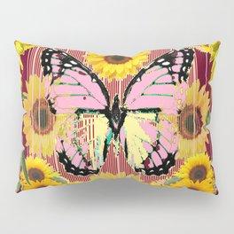 BURGUNDY SUNFLOWERS & PINK BUTTERFLY ART Pillow Sham