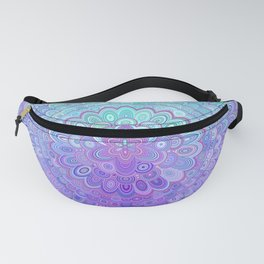 Mandala Flower in Light Blue and Purple Fanny Pack