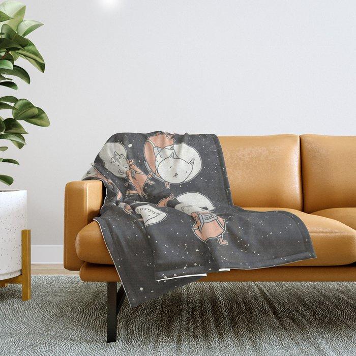 Cat-Stronauts Throw Blanket