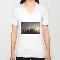 singapore V-neck T-shirts featuring Singapore Skyline by LeahArtOfficial