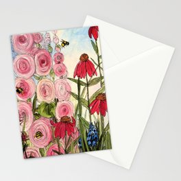 Cottage Garden Flower Whimsical Acrylic Painting Stationery Cards