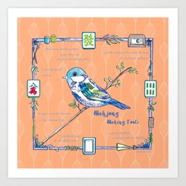 Sparrow Mahjong in Orange Art Print