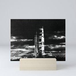 Searchlights illuminate this nighttime scene at Pad A Launch Complex 39 Kennedy Space Center Florida Mini Art Print