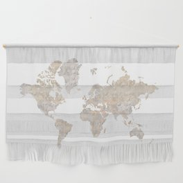 """World map in gray and brown watercolor """"Abey"""" Wall Hanging"""