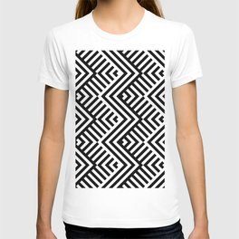Op art pattern with striped black and white zigzags T-shirt