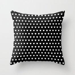 White Hearts on Black Throw Pillow