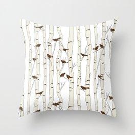 Birds & Birch - Mocha Beige Throw Pillow
