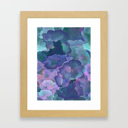 Blue and teal abstract watercolor Framed Art Print