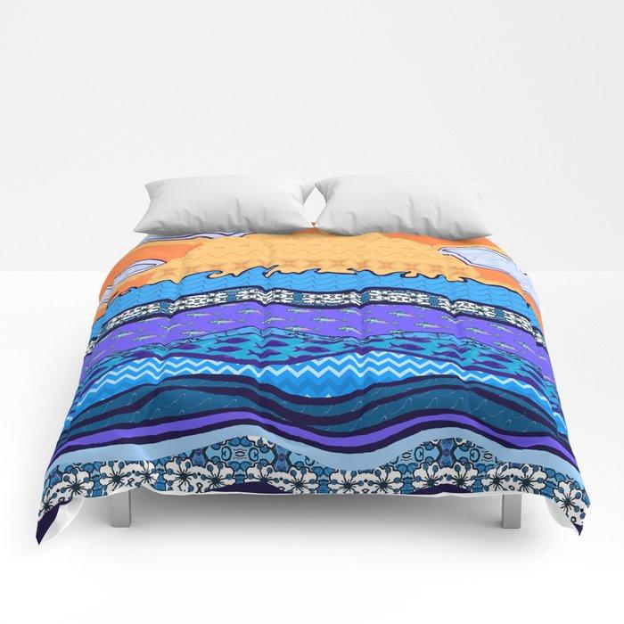 Sun on the Horizon Comforters