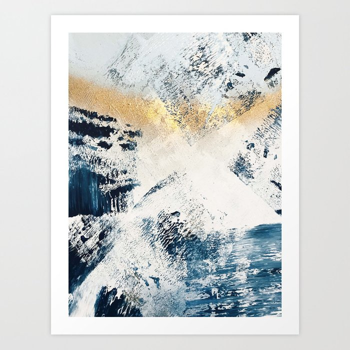 Sunset [1]: a bright, colorful abstract piece in blue, gold, and white by Alyssa Hamilton Art Kunstdrucke