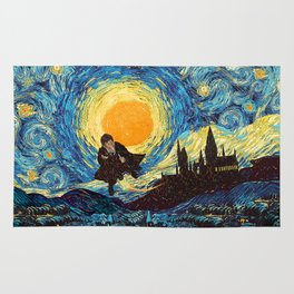Flaying wizard starry night iPhone 4 5 6 7 8, pillow case, mugs and tshirt Rug