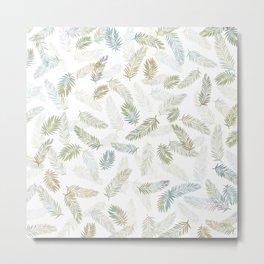 Tropical leaf pattern - Kaki, beige & grey Metal Print