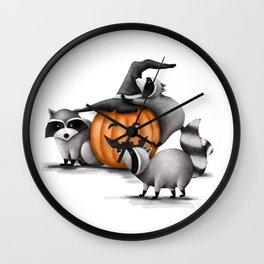 Raccoons and Jack-O-Lanterns Wall Clock