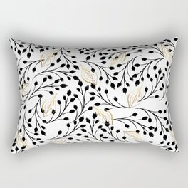 Modern hand painted watercolor black gold floral Rectangular Pillow