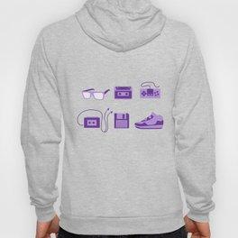 I Love the 80s in Purple - Bedroom Items - Sneakers Sunglasses Walkman Video Game Floppy Disk Icons Hoody