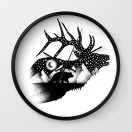 THE ELK AND THE BEAR Wall Clock