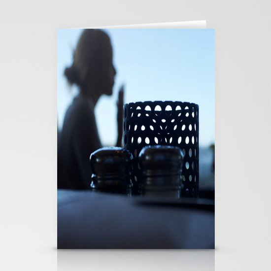 breakfast at Tiffany's in blue Stationery Cards